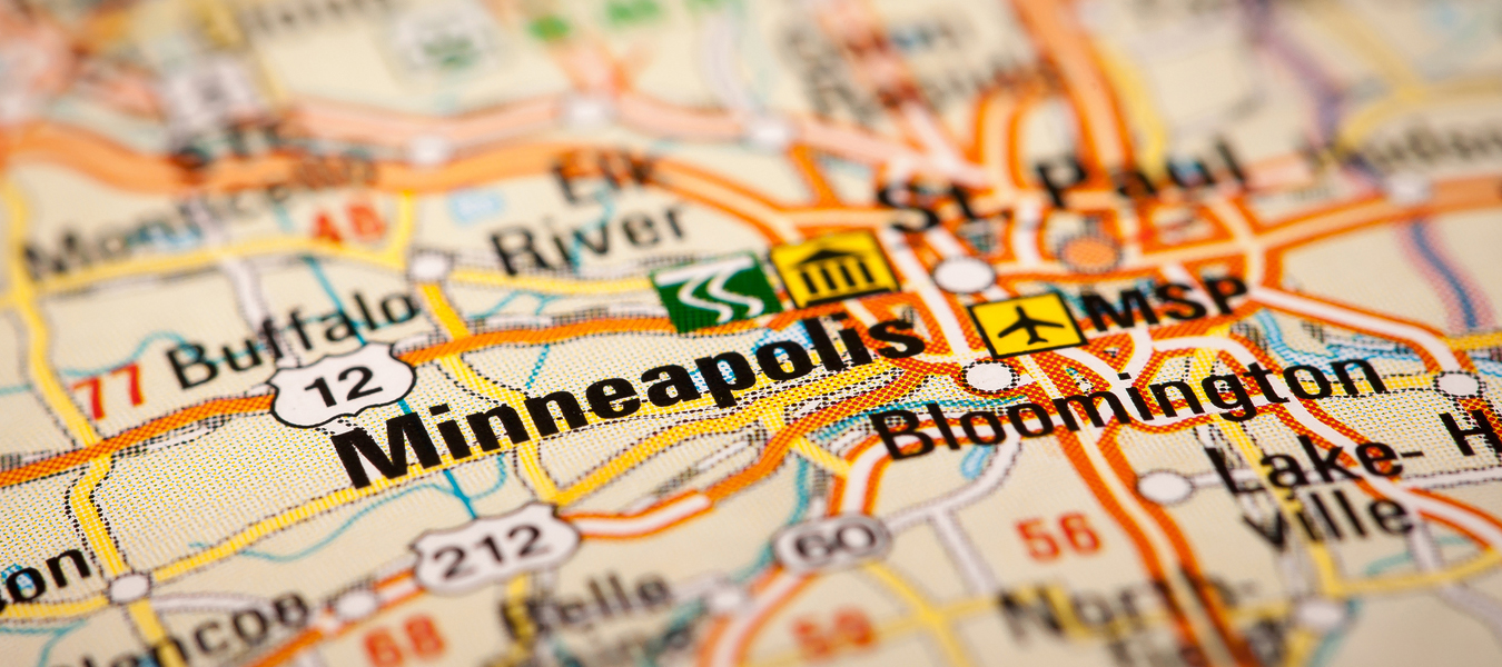 Map Photography: Minneapolis City on a Road Map